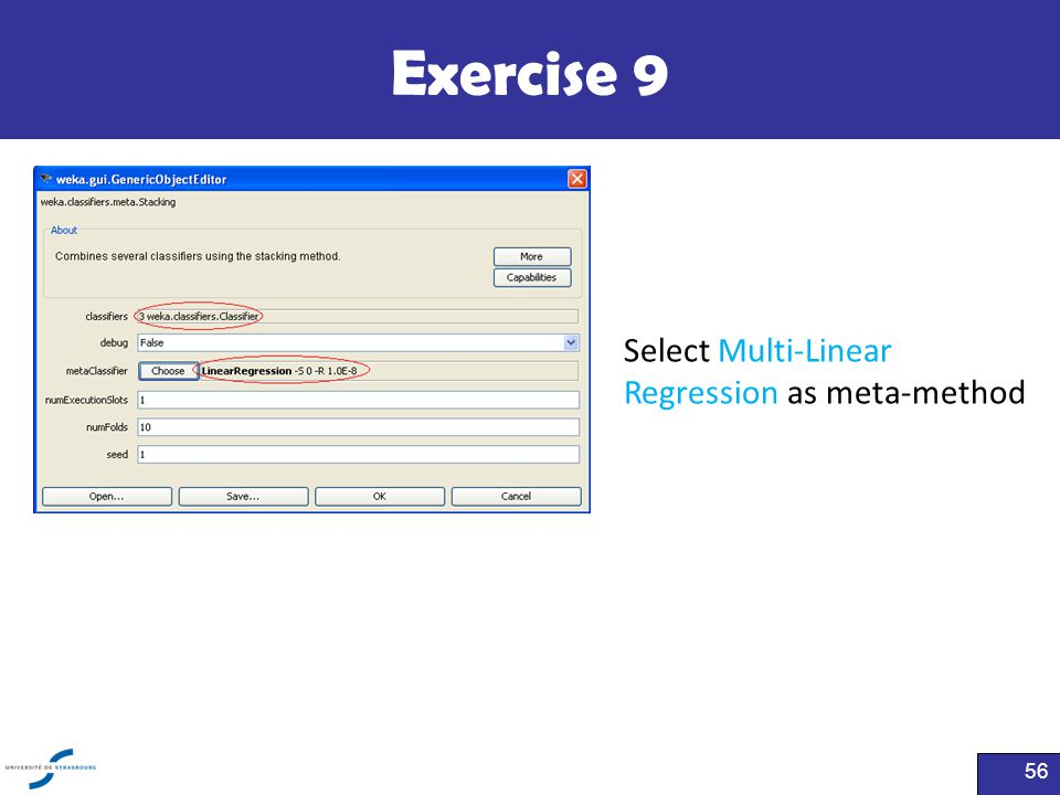 Exercise 9 Select Multi-Linear Regression as meta-method Click here