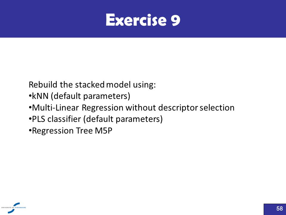 Exercise 9 Rebuild the stacked model using: kNN (default parameters)