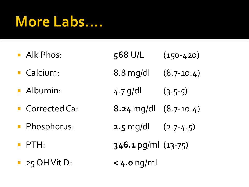 More Labs…. Alk Phos: 568 U/L (150-420) Calcium: 8.8 mg/dl (8.7-10.4)