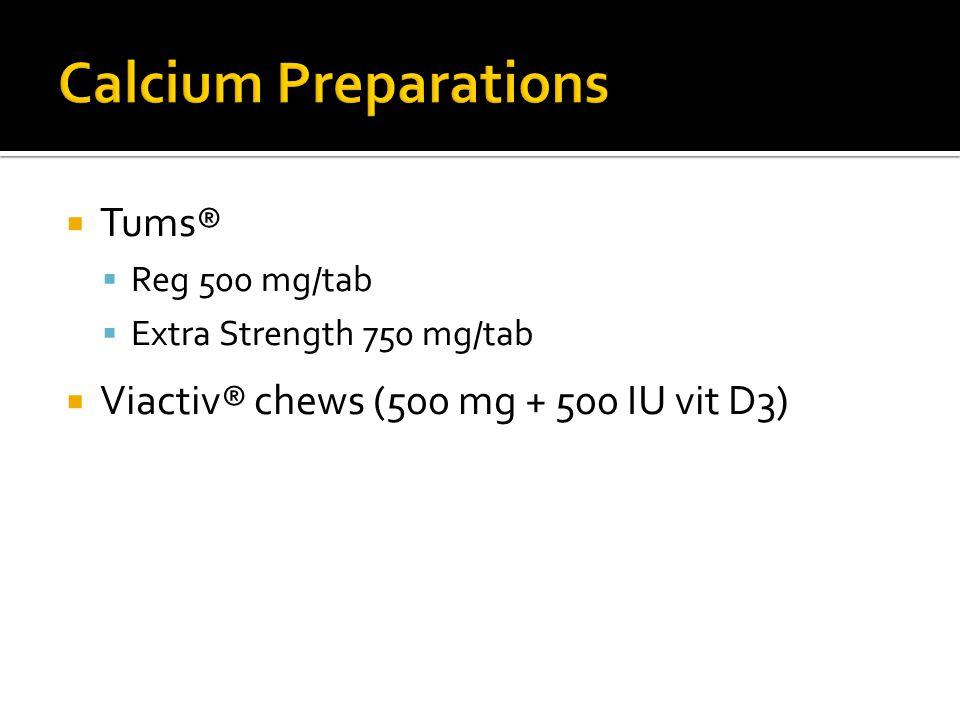 Calcium Preparations Tums® Viactiv® chews (500 mg + 500 IU vit D3)