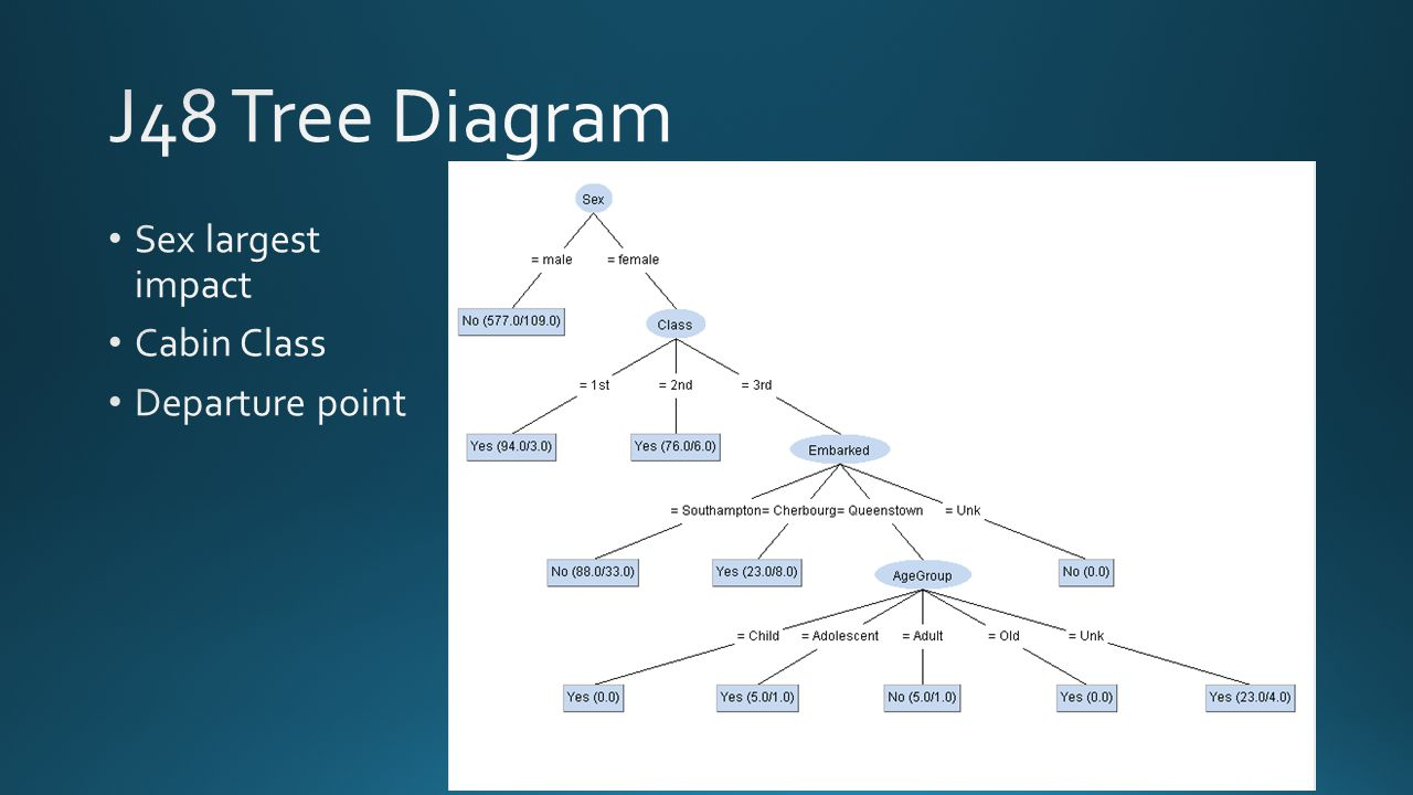J48 Tree Diagram Sex largest impact Cabin Class Departure point