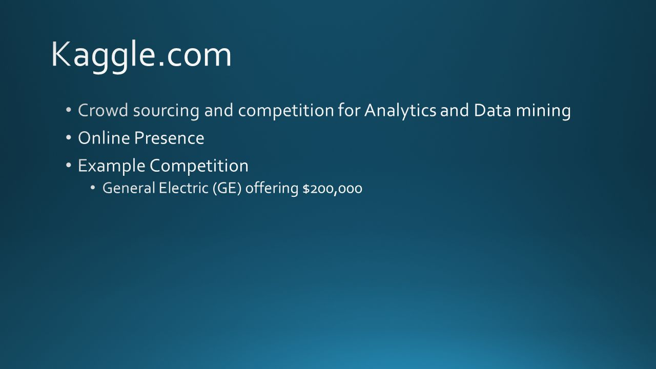 Kaggle.com Crowd sourcing and competition for Analytics and Data mining. Online Presence. Example Competition.