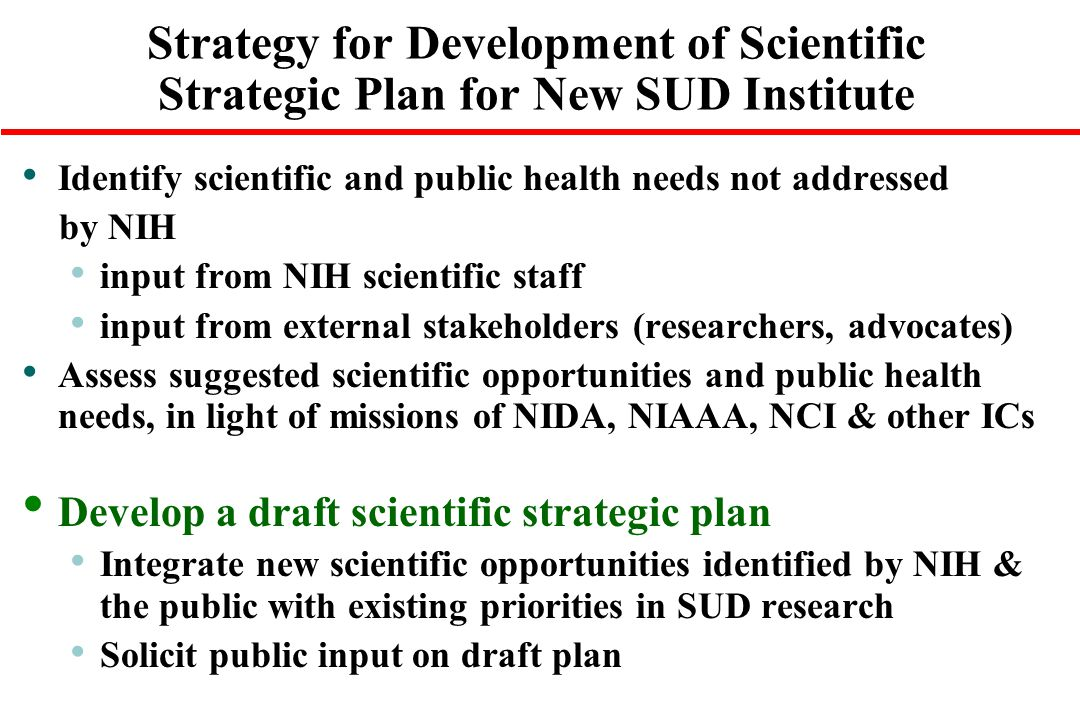 Strategy for Development of Scientific Strategic Plan for New SUD Institute