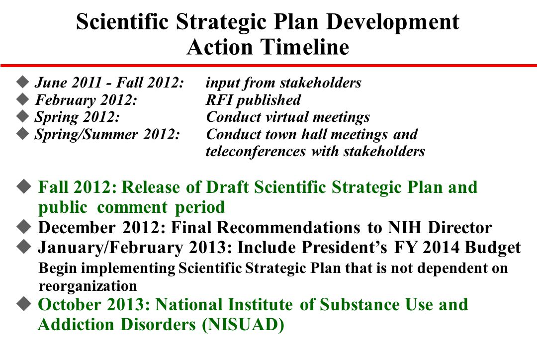 Scientific Strategic Plan Development Action Timeline
