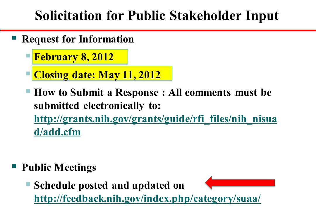 Solicitation for Public Stakeholder Input