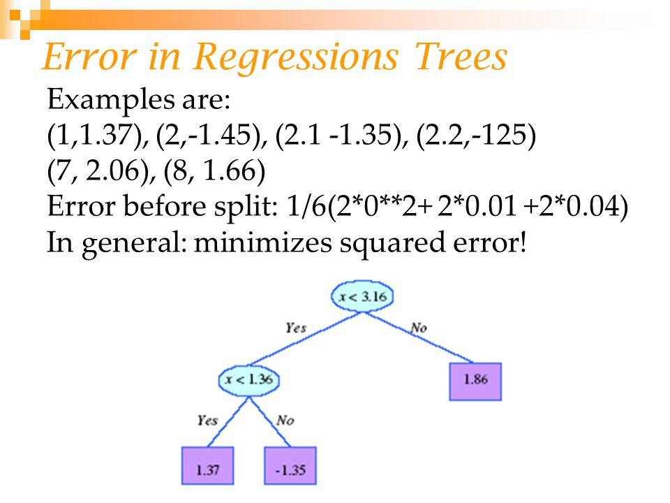 Error in Regressions Trees