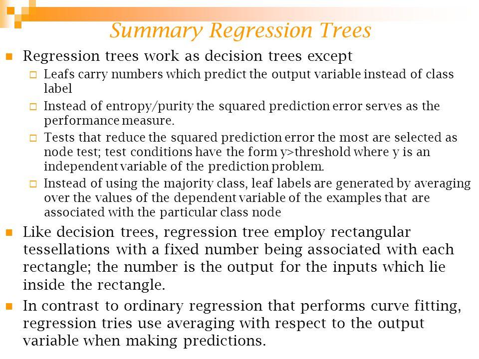 Summary Regression Trees