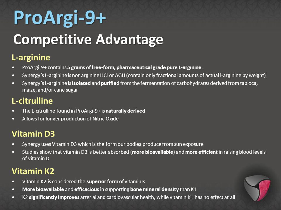 ProArgi-9+ Competitive Advantage L-arginine L-citrulline Vitamin D3