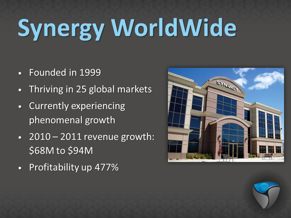 Synergy WorldWide Founded in 1999 Thriving in 25 global markets