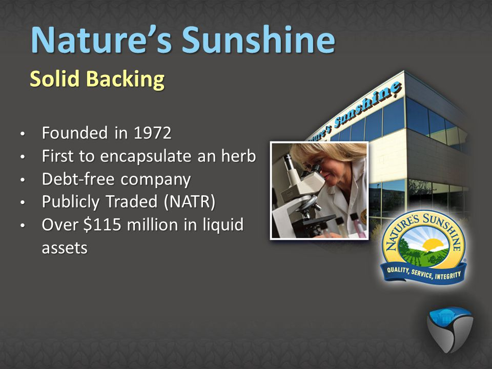 Nature's Sunshine Solid Backing Founded in 1972