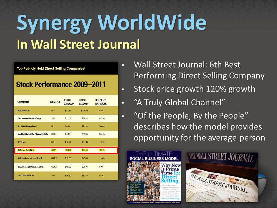 Synergy WorldWide In Wall Street Journal