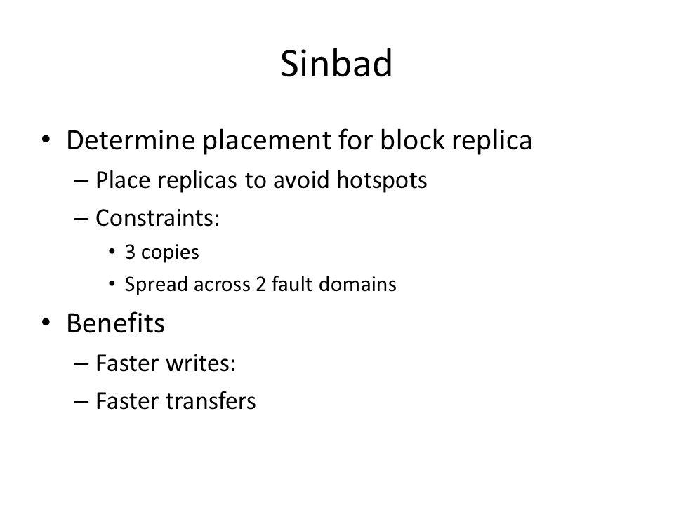 Sinbad Determine placement for block replica Benefits