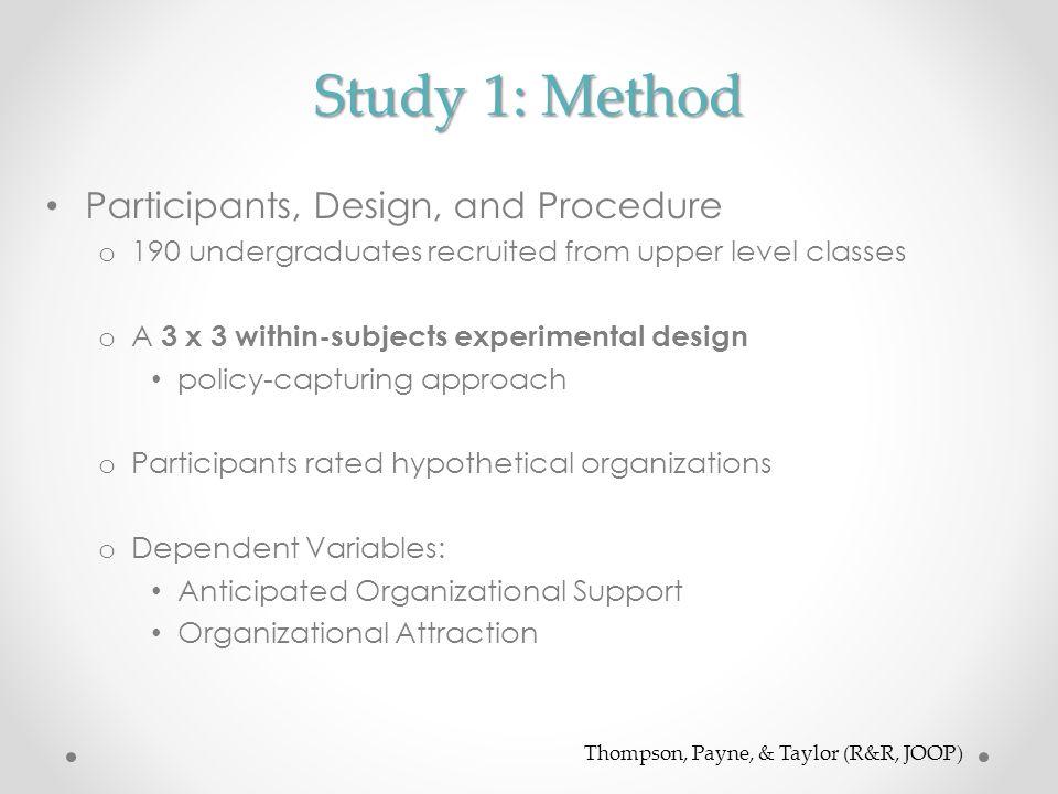 Study 1: Method Participants, Design, and Procedure