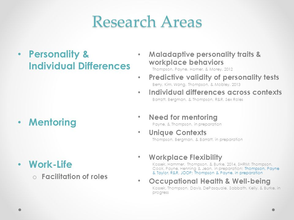 Research Areas Personality & Individual Differences Mentoring