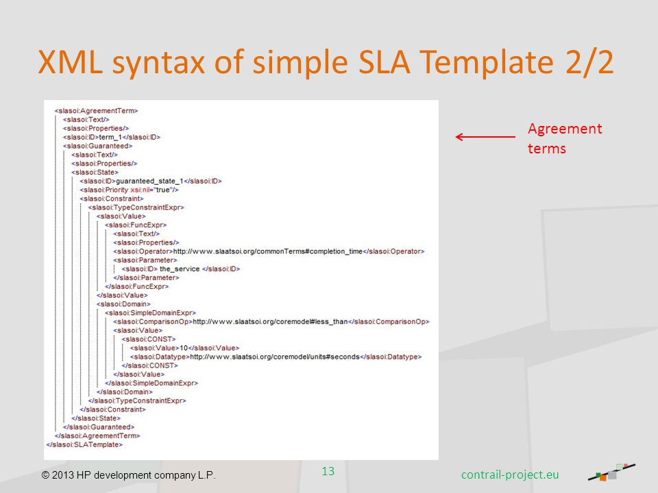 XML syntax of simple SLA Template 2/2