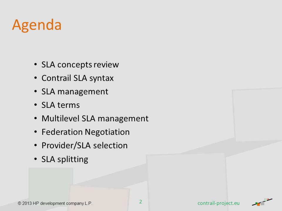 Agenda SLA concepts review Contrail SLA syntax SLA management