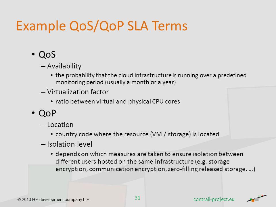 Example QoS/QoP SLA Terms