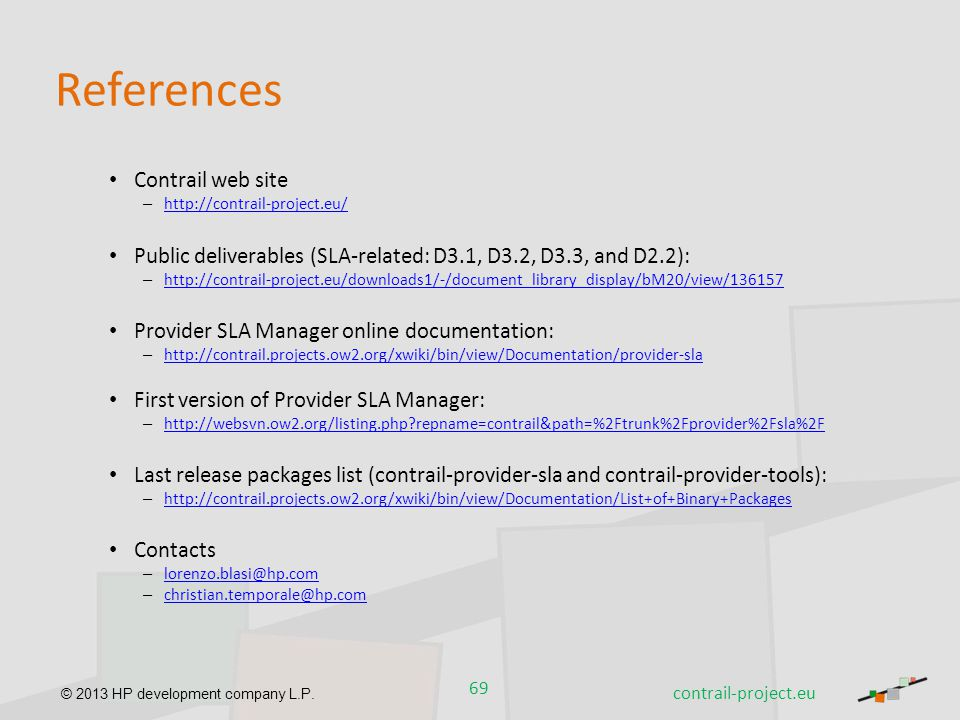 References Contrail web site