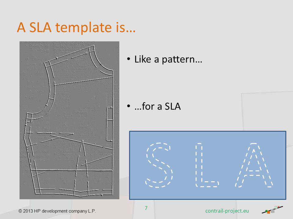 S L A A SLA template is… Like a pattern… …for a SLA