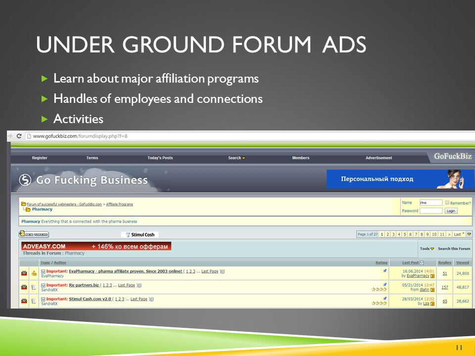 Under Ground Forum Ads Learn about major affiliation programs