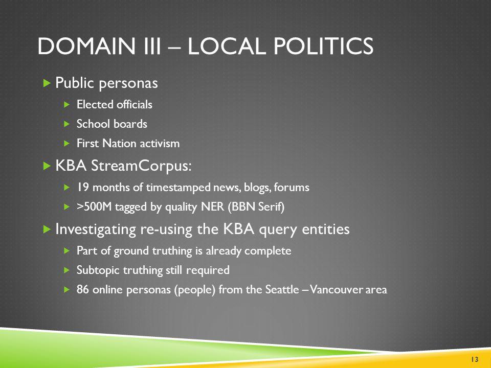 Domain III – Local Politics