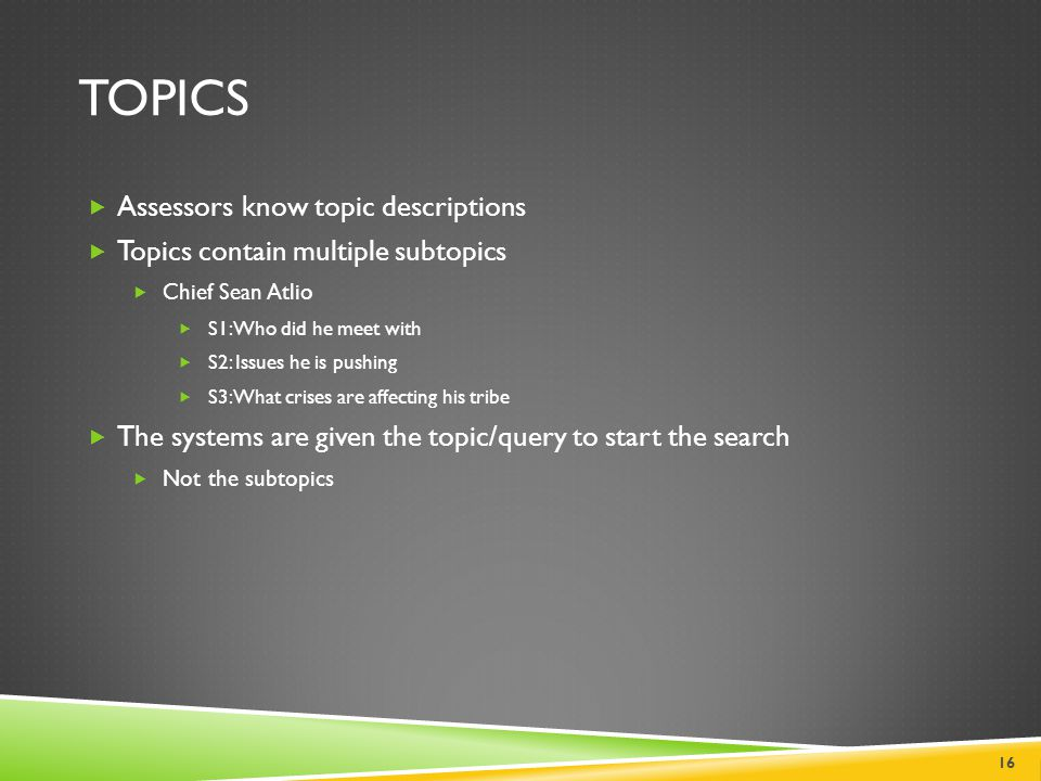 Topics Assessors know topic descriptions