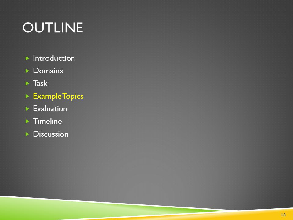 Outline Introduction Domains Task Example Topics Evaluation Timeline