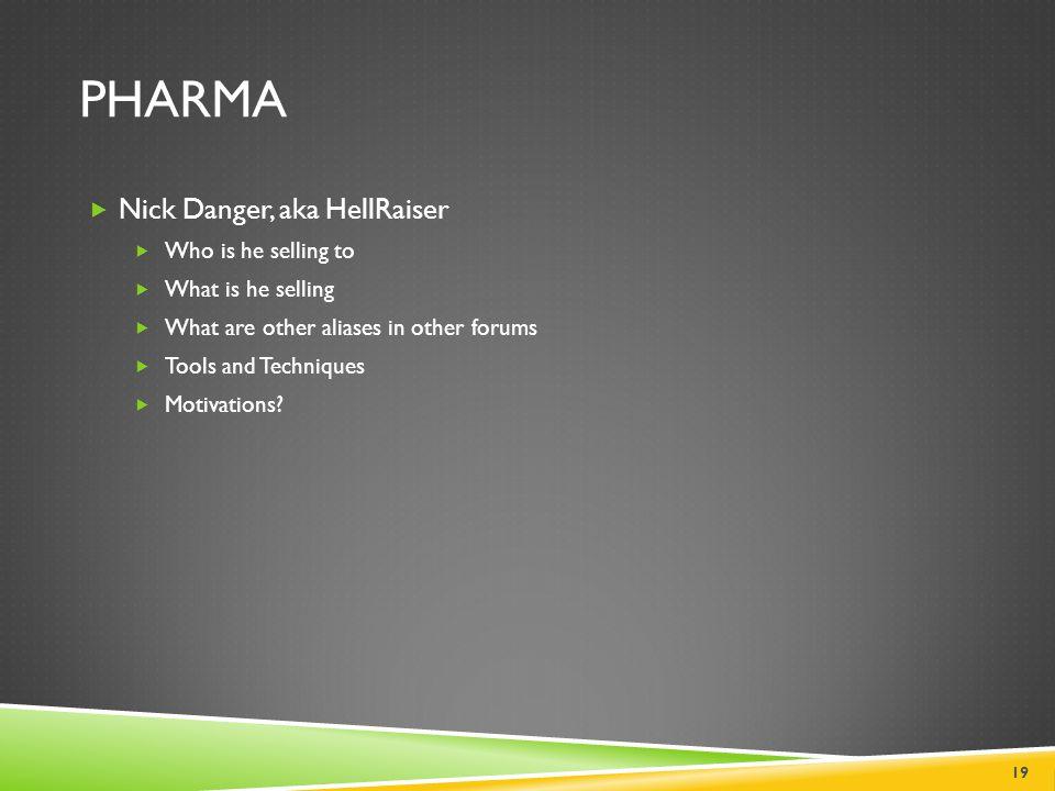 Pharma Nick Danger, aka HellRaiser Who is he selling to