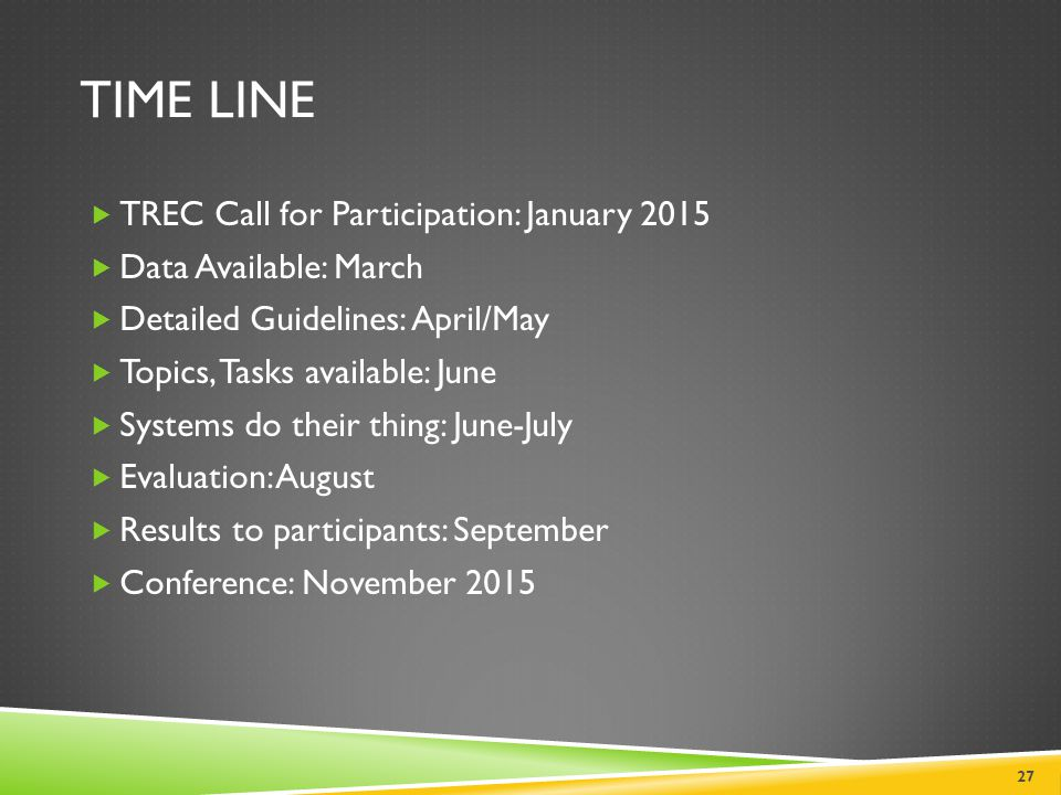 TIME Line TREC Call for Participation: January 2015