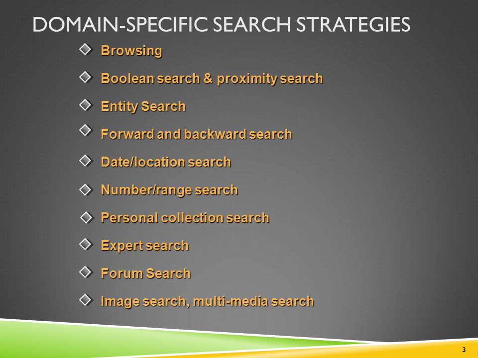 Domain-Specific Search Strategies
