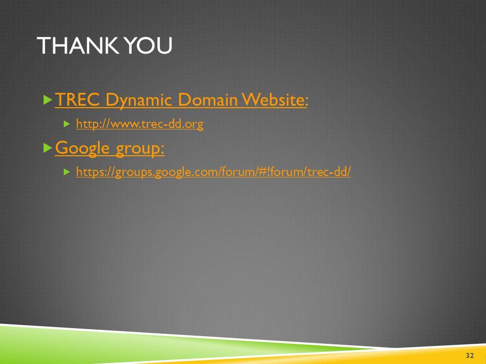Thank you TREC Dynamic Domain Website: Google group: