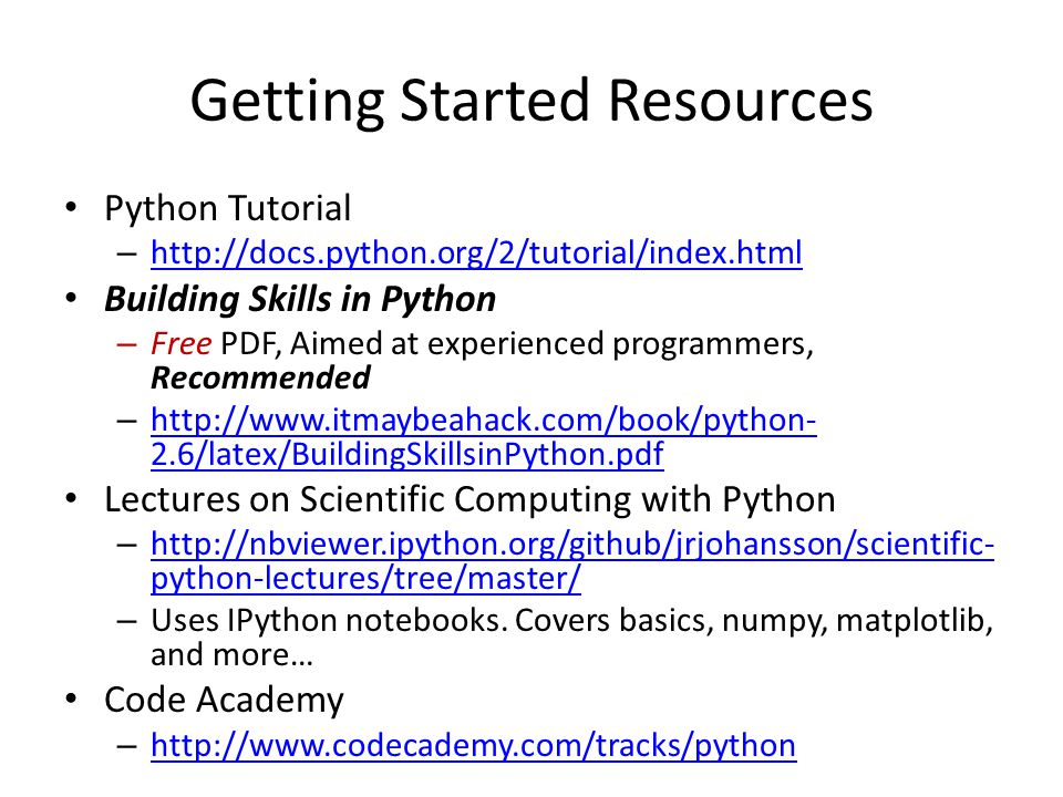 Getting Started Resources