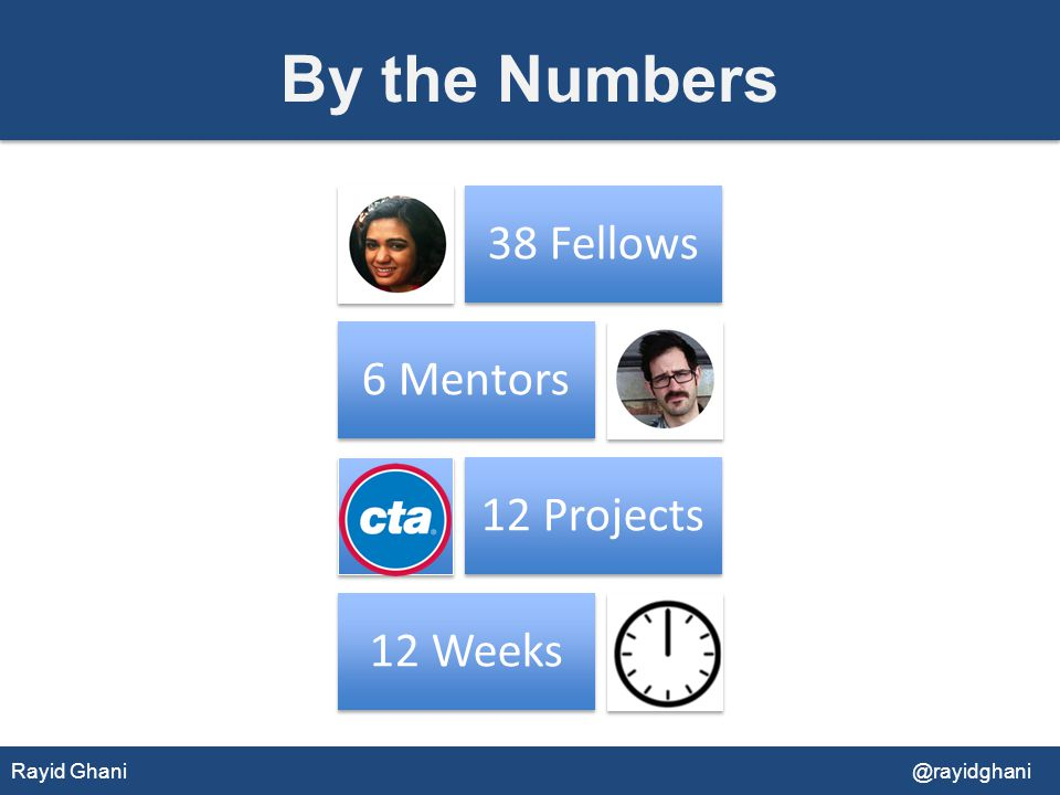 By the Numbers 38 Fellows 6 Mentors 12 Projects 12 Weeks