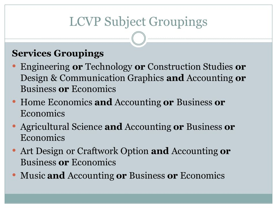 LCVP Subject Groupings