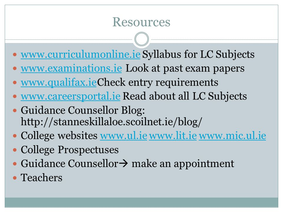 Resources www.curriculumonline.ie Syllabus for LC Subjects