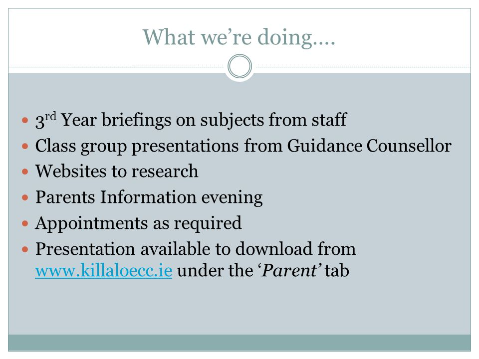What we're doing…. 3rd Year briefings on subjects from staff