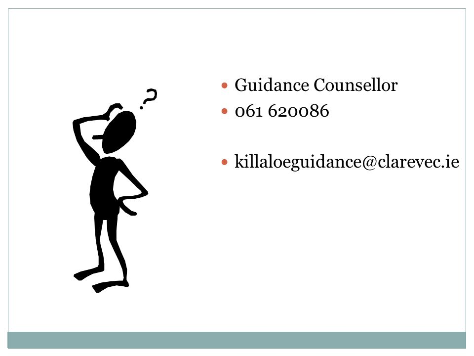 Guidance Counsellor 061 620086 killaloeguidance@clarevec.ie