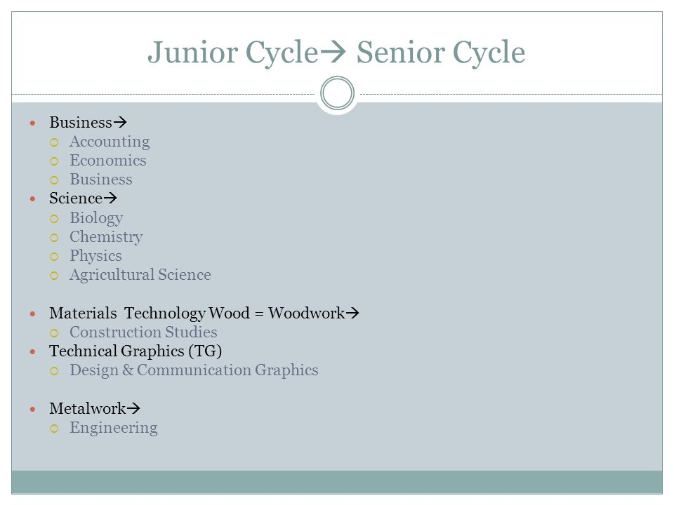 Junior Cycle Senior Cycle