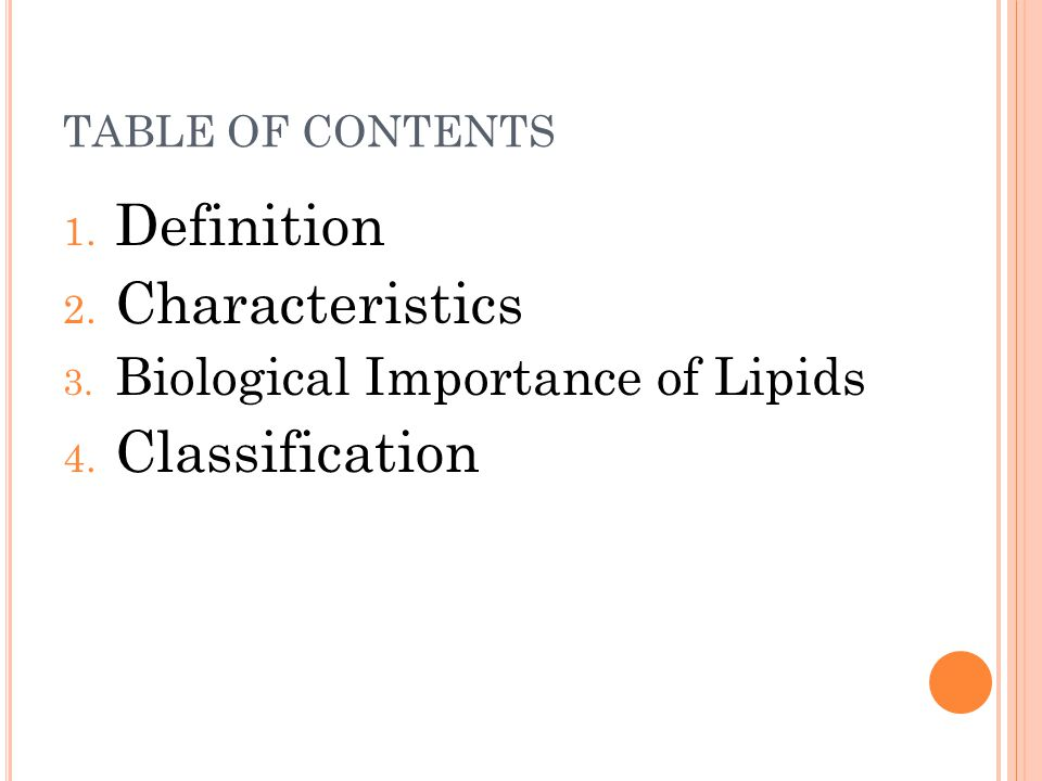 Definition Characteristics Classification
