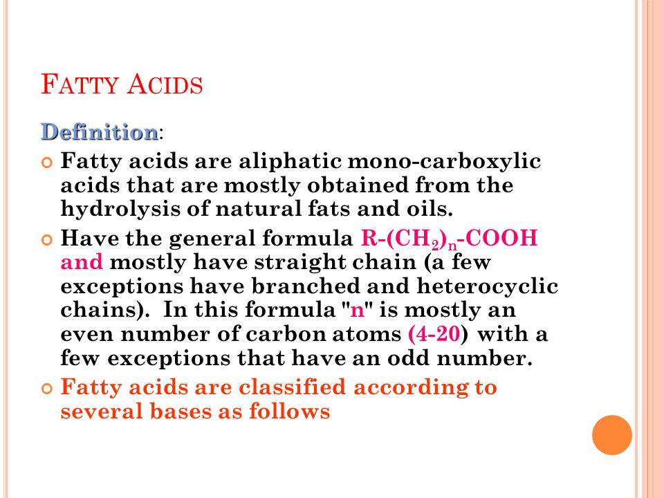 Fatty Acids Definition: