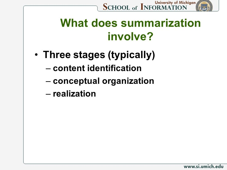 What does summarization involve