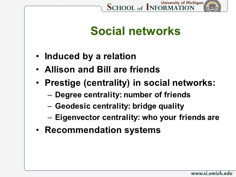 Social networks Induced by a relation Allison and Bill are friends