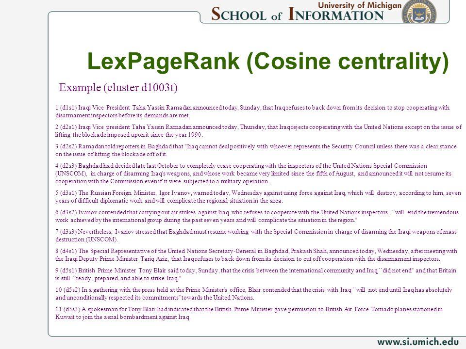LexPageRank (Cosine centrality)