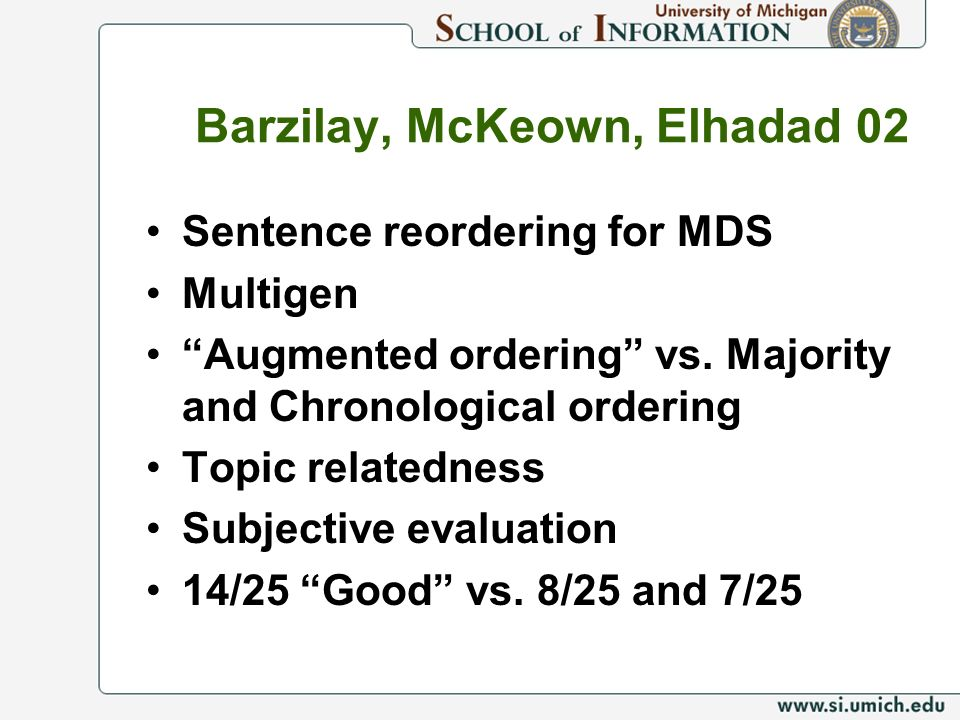 Barzilay, McKeown, Elhadad 02