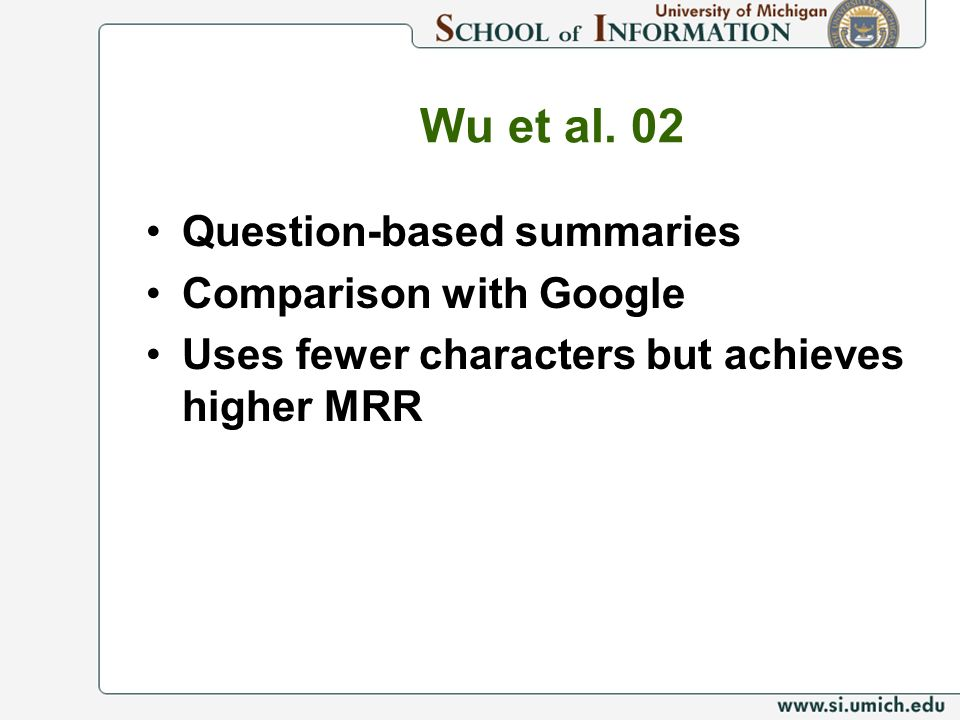 Wu et al. 02 Question-based summaries Comparison with Google