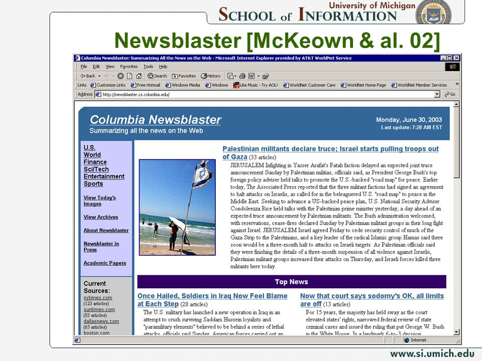 Newsblaster [McKeown & al. 02]