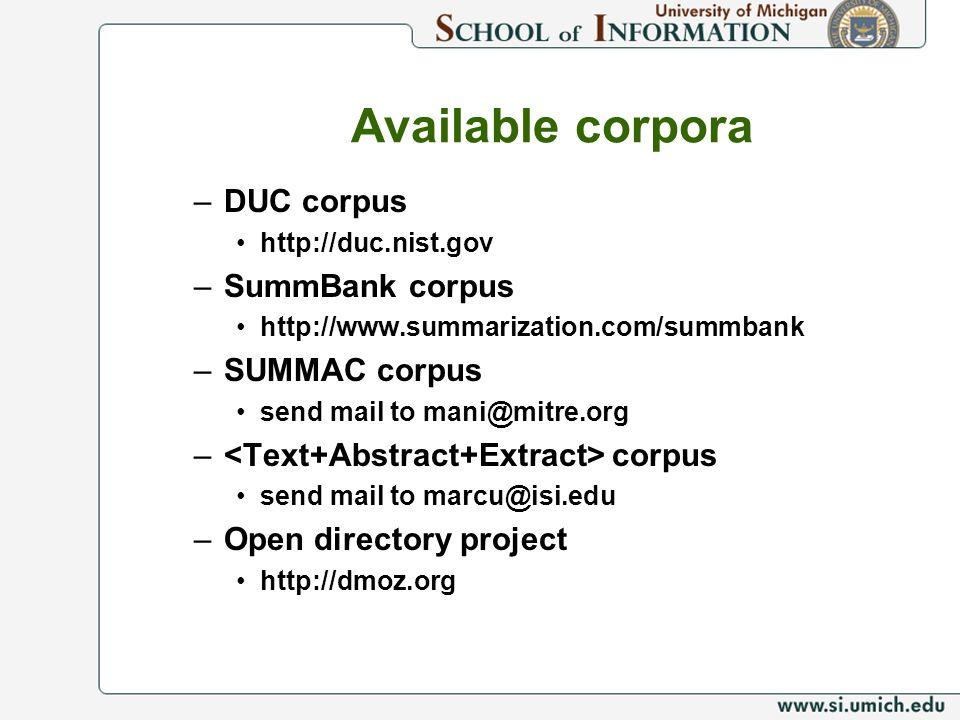 Available corpora DUC corpus SummBank corpus SUMMAC corpus
