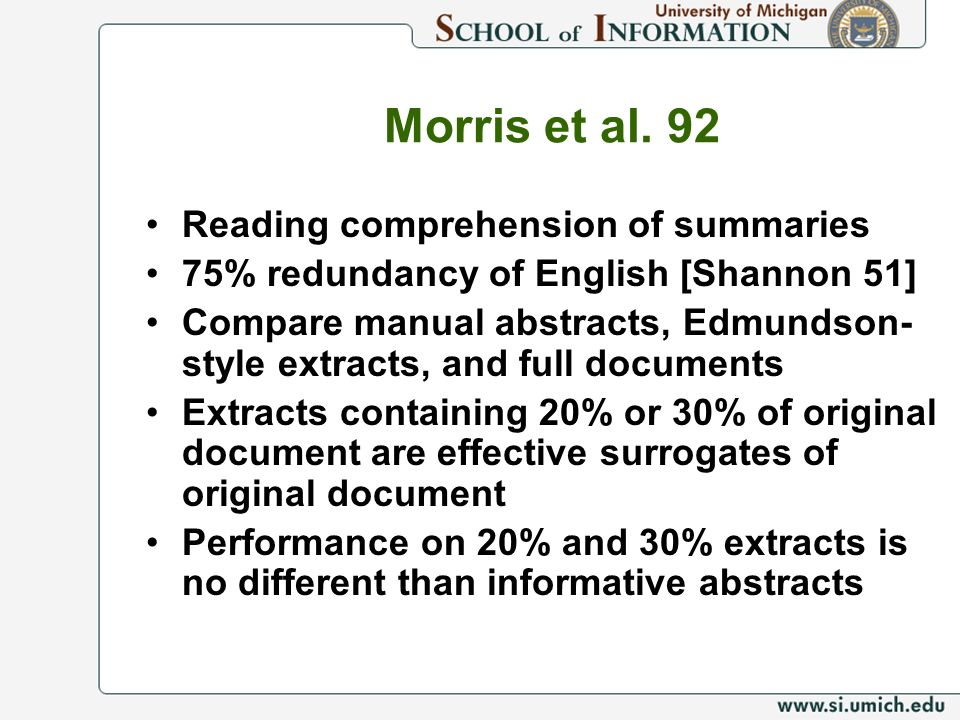 Morris et al. 92 Reading comprehension of summaries