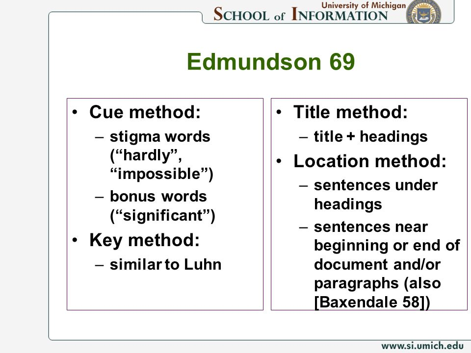 Edmundson 69 Cue method: Key method: Title method: Location method: