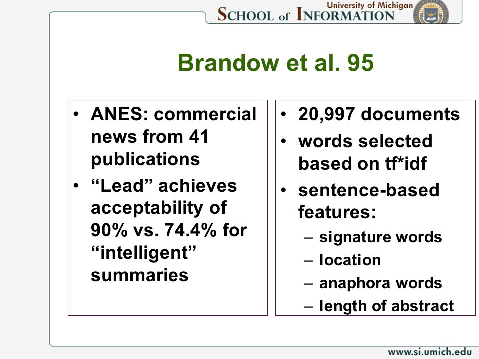 Brandow et al. 95 ANES: commercial news from 41 publications
